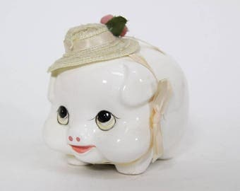 Cute Vintage Piggy Bank with Hat, Kitsch Pig Bank, Unique