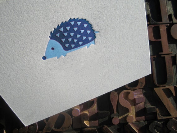 Blue Hedgehog Letterpress Note Card