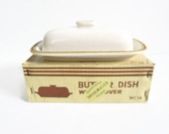 Butter Dish With Cover, Vintage Stoneware, Woodberry Collection Nutmeg WC 14, Brown Rings Yellow Accent, Hand Painted, Original Box
