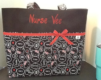 Personalized Diaper bag, tote bag, made with Hello Kitty print fabric