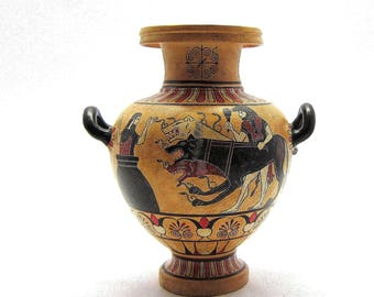 Greek Vase , Black figure Hydria of Hercules Kerberos and Eurystheus , Exact copy from Louvre Museum
