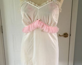Upcycled vintage white and baby pink slip / top with ruffles size 10-12