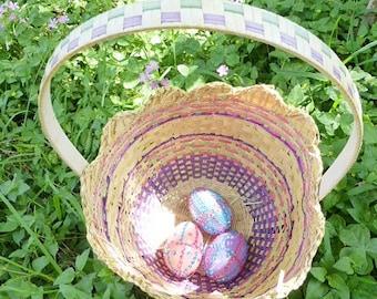 Large Easter  Pastel Bamboo Weaved Basket