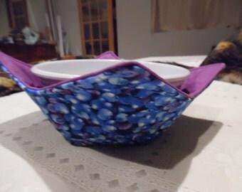 Blueberry Microwave Bowl Cozy / Microwave Cozy / Bowl Cozy  / Ice Cream Cozy / Microwave Bowl  Holder