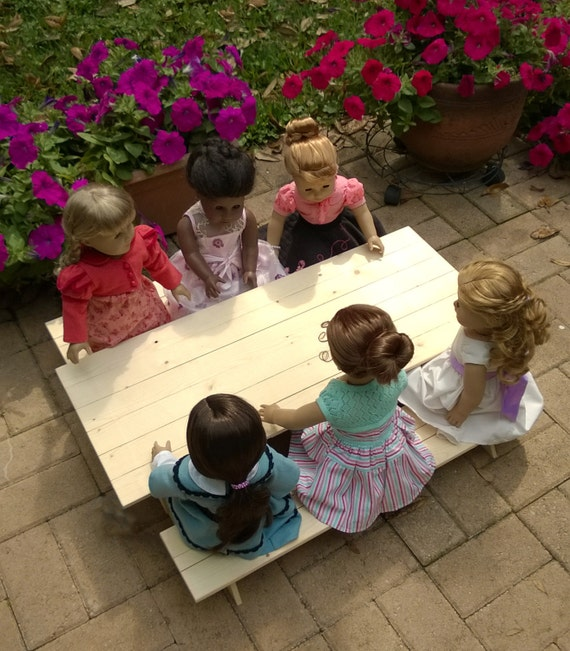 Doll PICNIC TABLE - Large (Seats six dolls) Handcrafted for 18 Inch dolls such as American Girl®  One picnic table and two benches