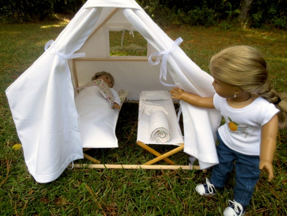Doll TENT & COTS (Fits 2 dolls!)  Handcrafted for 18 Inch dolls such as American Girl®  Canvas tent over wood frame with two cots