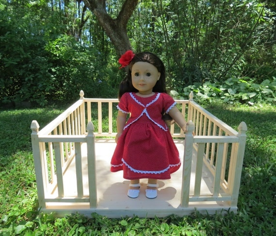 Doll garden deck handcrafted for 18 inch dolls such as for Garden tools for 18 inch doll