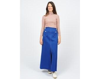 Vintage 70s Blue Maxi Skirt Large Pockets Front Slit