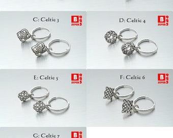 925 Sterling Silver Earrings, Oxidized Celtic Hoop Earrings, Hoop Earrings (Code : EY45)