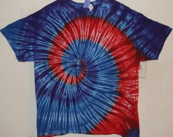 Adult XL T-Shirt, Red/Blue/Purple Spiral Tie Dye (E)