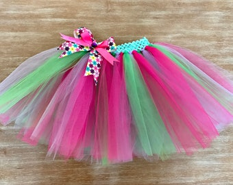 Girly Flower Pink Girl Party Tutu Skirt (All Sizes)