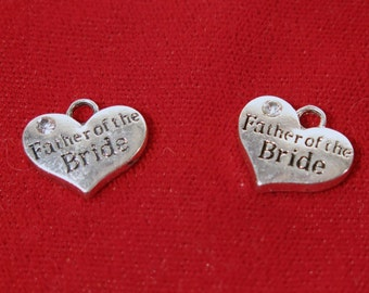 """5pc """"Father of the Bride"""" charms in antique silver style (BC1144)"""