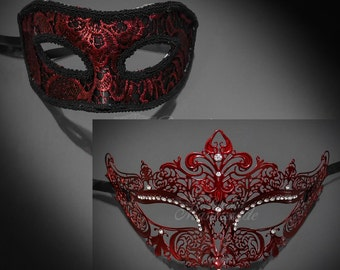 Red Couples Masquerade Mask, His & Hers Masquerade Mask, Filigree Metal Masquerade Mask, Mardi Gras Masks