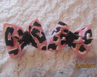 Dog Hair Bows Can Mix and match with any of my bows, pink and black leopard print,  dog bows, bows