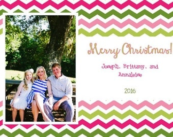 Pink and Green Merry Christmas Chevron Photo Card