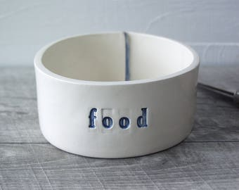 Food Bowl.  Hand-Built Food Dish.  Food Crock.  In Blue.