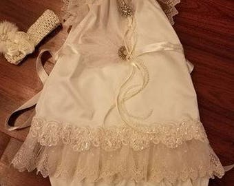 Size 4/5 child~1920's, Baby Glam, Wedding, Flower Girl, Vintage White, Flapper