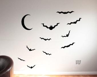 Halloween Wall Decal. Bats And Moon. Moon Wall Decal. Living Room Decor.