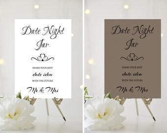 A4/A5 Printed Wedding Sign - Date Night Jar