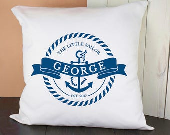 Personalised Little Sailor With Anchor Cushion Cover - Pillow Cover - Nursery Decor - Throw Cushion Baby Gift -1st Birthday FREE UK DELIVERY