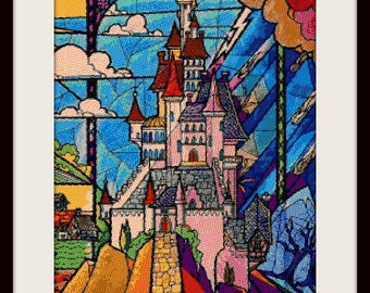 Beauty and the Beast castle stained glass, cross stitch pattern, cross stitch disney, disney pattern, disney, PDF pattern - instant download