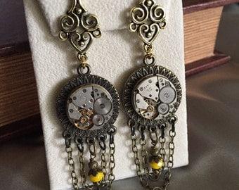 Steampunk, Dangle Steampunk Earrings, Jewelry, Watch, Neo Victorian, Womans, Gears, Filigree, Steampunk Jewelry, Industrial, Gift Idea