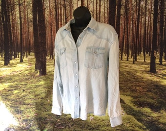 SALE 90s Faded Light Denim Shirt
