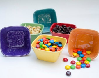 Colorful Ceramic Tiny Square Bowls