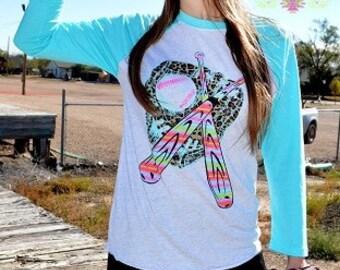 Baseball Crazy Train Shirt ~ 3/4 Length Sleeves ~ Leopard Print