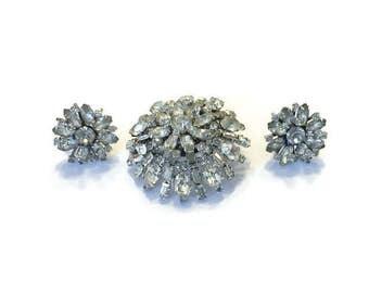 Signed DUANE Jewelry Set, Vintage 1950s 1960s Rhinestone Starburst Brooch and Earrings, Costume Jewelry, Demi Parure