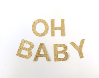 OH BABY Gold Glitter Bunting Garland. Baby Shower banner decoration (other colours available)