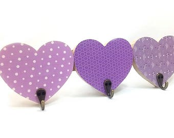 Hearts Wood Wall Hook Hanger Kids Room Decor , nursery decor ,  childrens coat rack in purple flower and dots