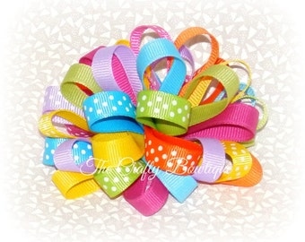 Bright & Colorful Bow ~ Colorful Loopy Bow ~ Colorful Hair Bow ~ Polka Dot Loopy Bow ~ Loopy Headband Bow ~Colorful Headband Bow ~ Polka Dot