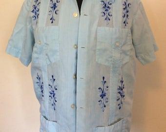 Vintage Blue Guayabera Shirt - S/M