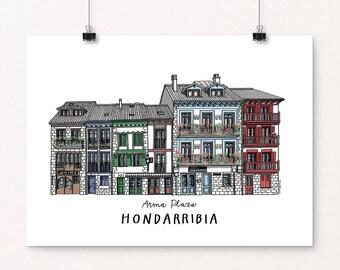 Hondarribia / Fuenterrabia - Hand Drawn Illustration (DIGITAL FILE)