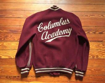 Vintage 50s Empire Columbus Academy Maroon Tan Varsity Jacket Medium