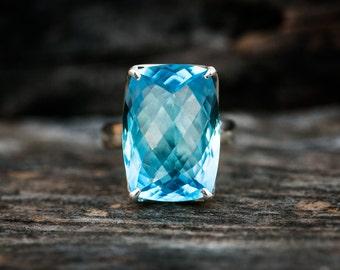 Blue Topaz Ring 8 - Swiss Blue Topaz Ring 8 -Swiss Blue Topaz Jewelry - December Birthstone - Swiss Blue Topaz Ring - Baby Swiss Ring 8