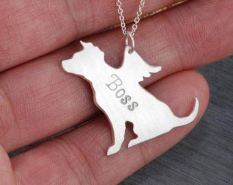 Pit bull ,American Starffordshire Terrier  Memorial Handcrafted sterling silver necklace
