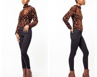 Vintage Brown Velvet Blouse