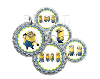 Minions 3 Bottle Cap Images, Clip Art,1 Inch Circles, Cupcake Toppers, Stickers,Buttons, Digital Download, DIY Printable