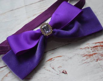 Oversized purple velvet bow headband - Baby / Toddler / Girls / Kids Headband / Hairband / Hair bow / Barrette / Hairclip
