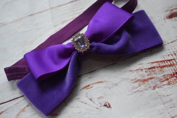 Oversized purple velvet bow headband - Baby / Toddler / Girls / Kids Headband / Hairband / Hair bow / Barrette / Hairclip