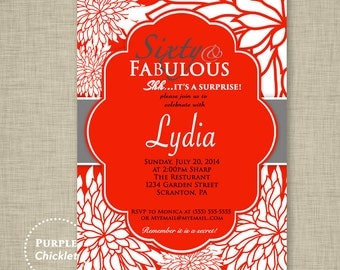 Red 60th Birthday Invitation Surprise Party Sixty and Fabulous White flower bursts Adult Party Invite Printable JPG File Invite (116)