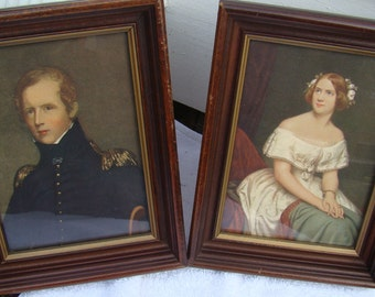 Vintage Antique Framed art prints Vintage Victorian wall art Antique Portraits, Lithograph, Antique Black walnut, 1800s, Small Frame