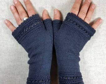 Organic Fingerless Gloves dark gray, wool merino, handknitted mittens, gift for women