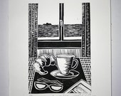 "FREE SHIPPING Worldwide, Original Linocut Handmade Print, 6.5"" x 8"", Limited edition, Tuesday mood, coffee, croissant, seascape, gift idea"