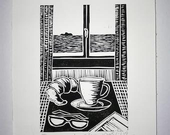 FREE SHIPPING Worldwide, Original Linocut Handmade Print, Limited edition, Tuesday mood, coffee, croissant, seascape, wall decor, gift idea