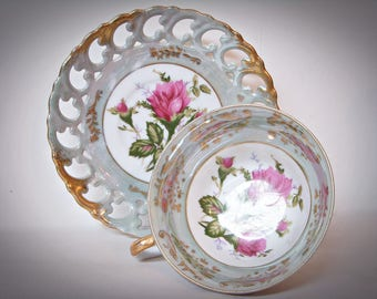 ROYAL SEALY LUSTER Triple Foot Teacup and Reticulated Saucer