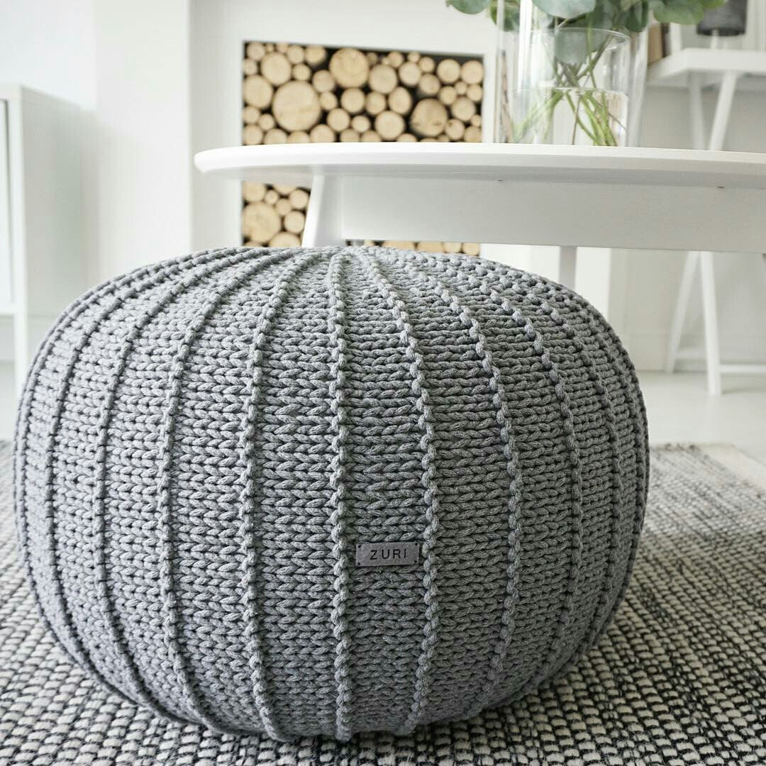 Large grey floor pouf ottoman knitted pouf knit by zurihouse for Floor knitting