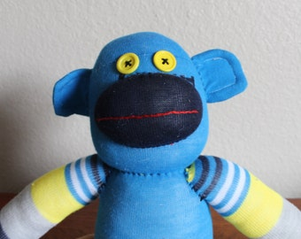Handcrafted Striped Sock Monkey - Striped Yellow + Blue - Large